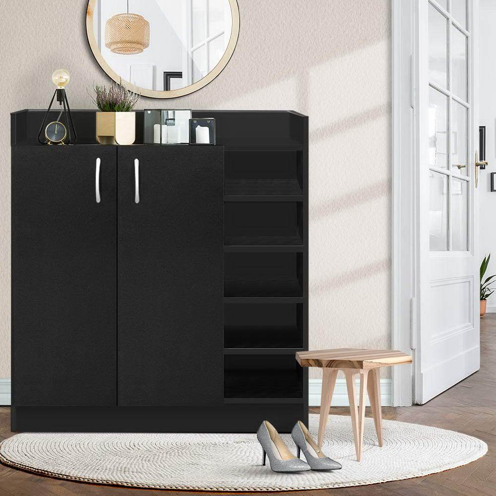 Artiss 2 Doors Shoe Cabinet Storage Cupboard - Black - Evopia
