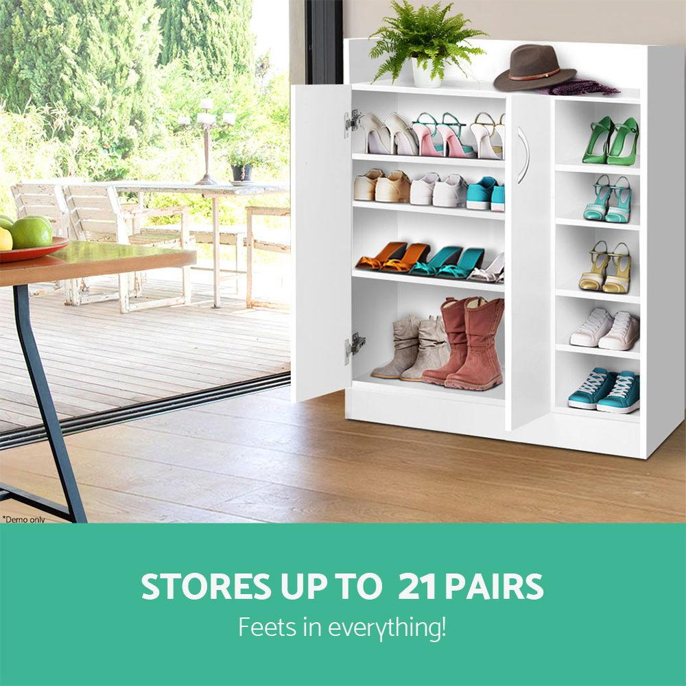 Artiss 2 Doors Shoe Cabinet Storage Cupboard - White - Evopia