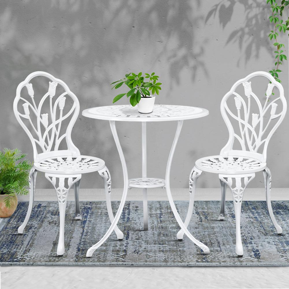 Gardeon 3PC Outdoor Setting Cast Aluminium Bistro Table Chair Patio White - Evopia