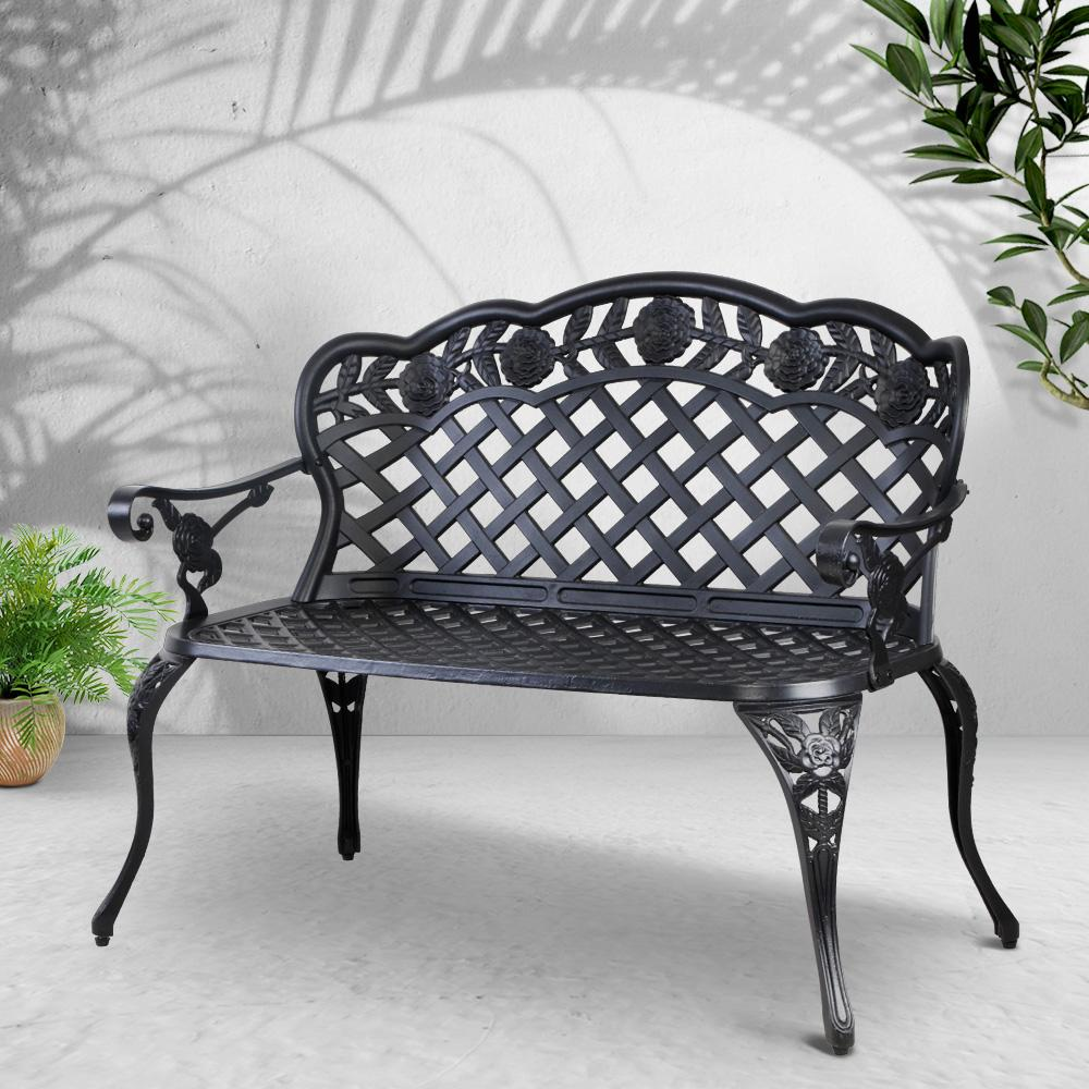Gardeon Garden Bench Patio Porch Park Lounge Cast Aluminium Outdoor Furniture - Evopia