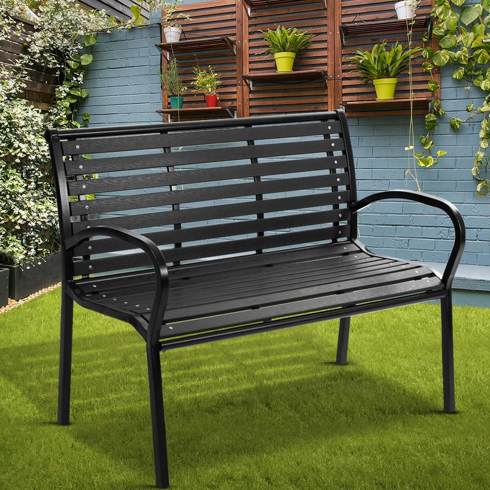 Gardeon Garden Bench Outdoor Furniture Chair Steel Lounge Backyard Patio Park Black - Evopia