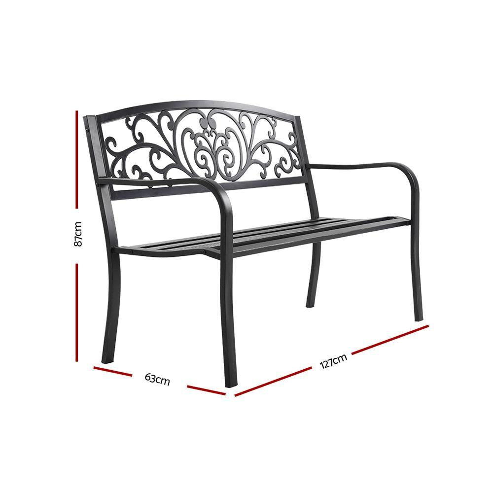 Garden Bench Seat Outdoor Chair Steel Iron Patio Furniture Lounge Porch Lounger Vintage Black Gardeon - Evopia