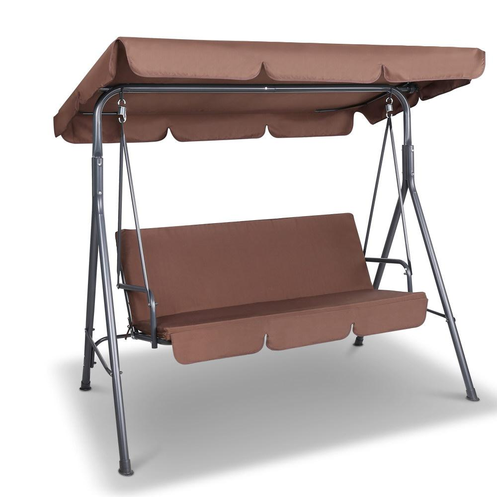 Gardeon 3 Seater Outdoor Canopy Swing Chair - Coffee - Evopia