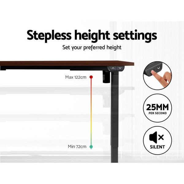 Electric Motorised Height Adjustable Standing Desk - Black Frame with 140cm Walnut Top - Evopia