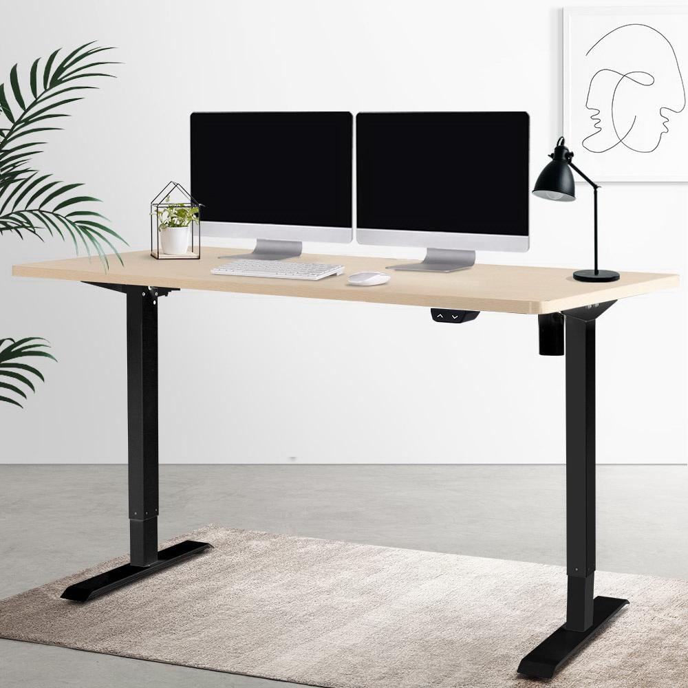 Electric Motorised Height Adjustable Standing Desk - Black Frame with 140cm Natural Oak Top - Evopia