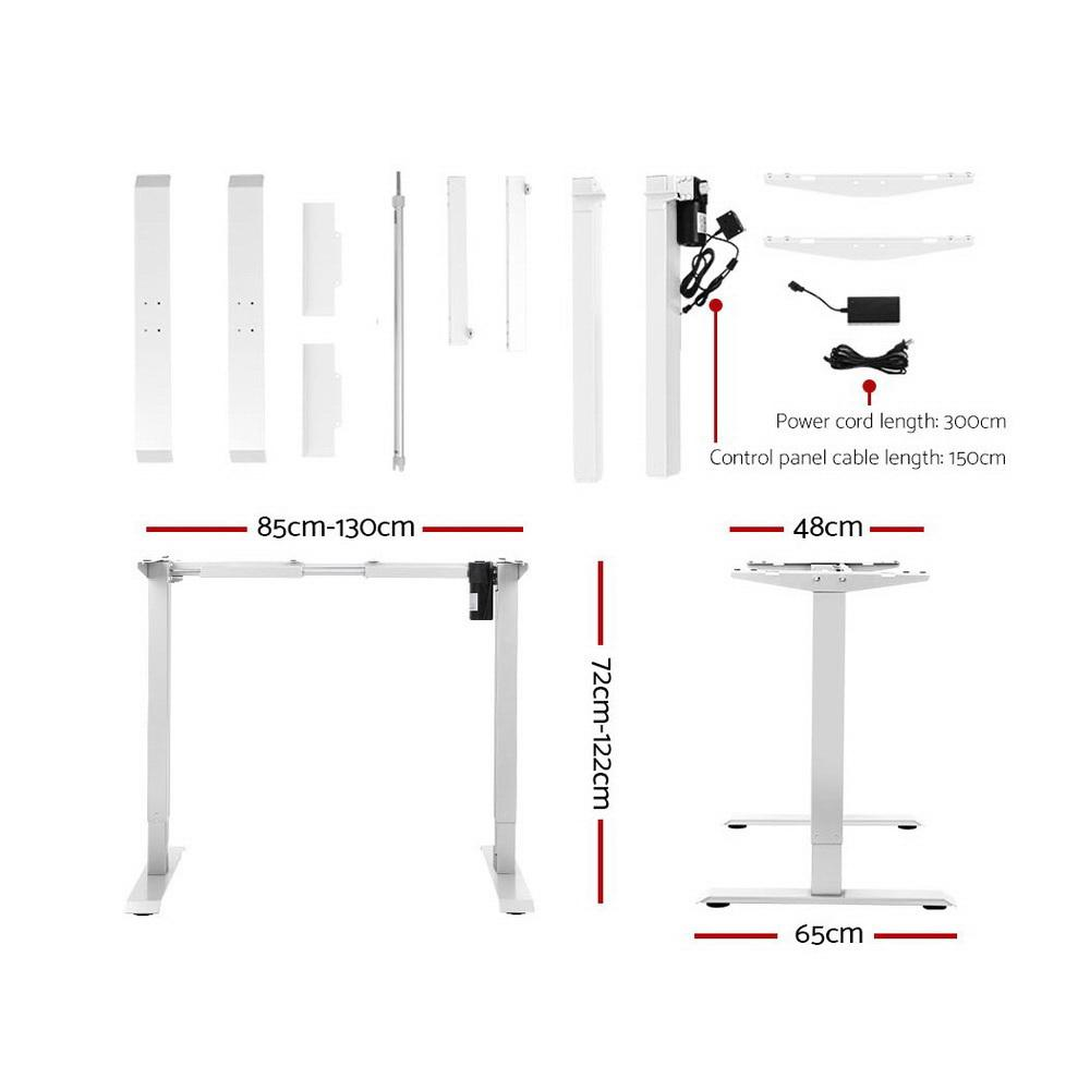 Artiss Standing Desk Sit Stand Table Riser Motorised Electric Height Adjustable Computer Laptop Table Home Office White Frame - Evopia