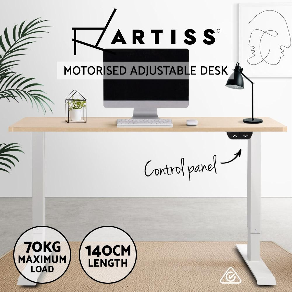 Electric Motorised Height Adjustable Standing Desk - White Frame with 140cm Natural Oak Top - Evopia