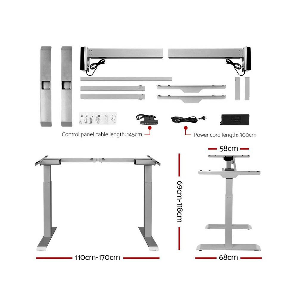 Artiss Standing Desk Motorised Height Adjustable Laptop Computer Table Electric Riser Dual Motor 120cm - Evopia