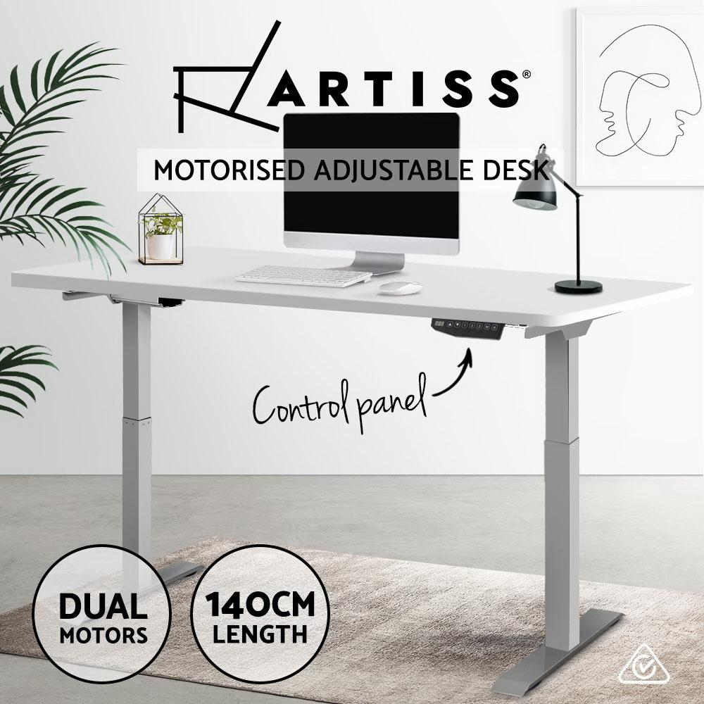 Artiss Sit Stand Standing Desk Motorised Electric Adjustable Laptop Computer Table Dual Motors 140cm - Evopia
