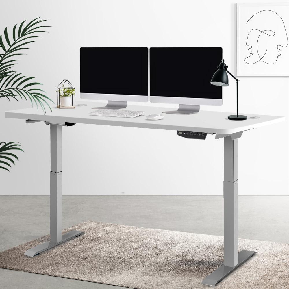 Electric Motorised Height Adjustable Standing Desk - Grey Frame with 160cm White Top - Evopia