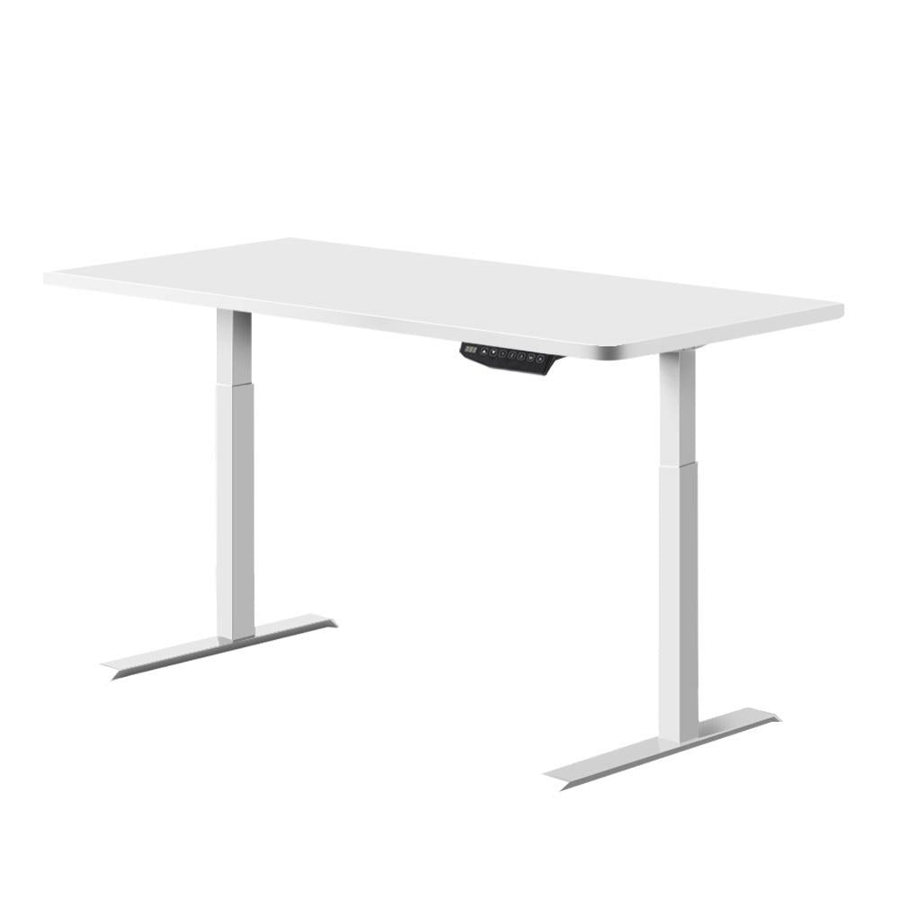 Artiss Standing Desk Motorised Sit Stand Table Height Adjustable Computer Laptop Desks Dual Motors 140cm White - Evopia