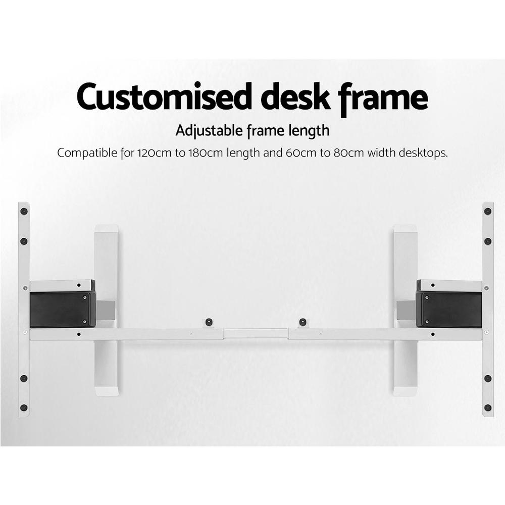 Electric Motorised Height Adjustable Standing Desk - White Frame with 160cm White Top - Evopia