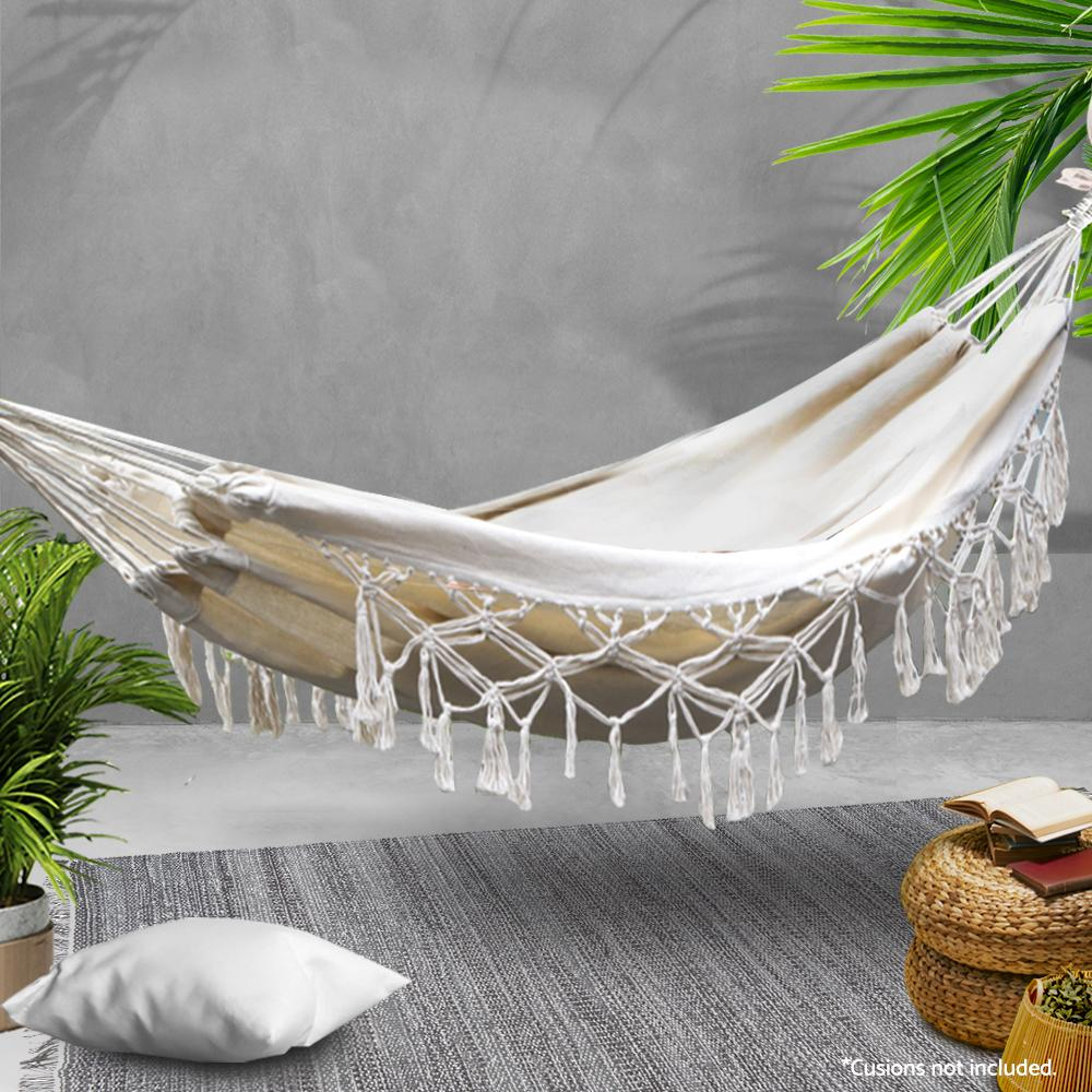 Gardeon Hanging Tassel Hammock Swing Bed Cream - Evopia