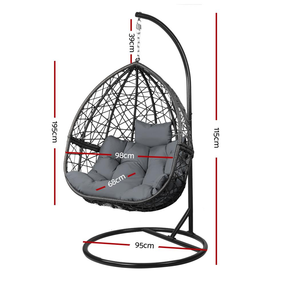 Gardeon Outdoor Hanging Swing Chair - Black - Evopia