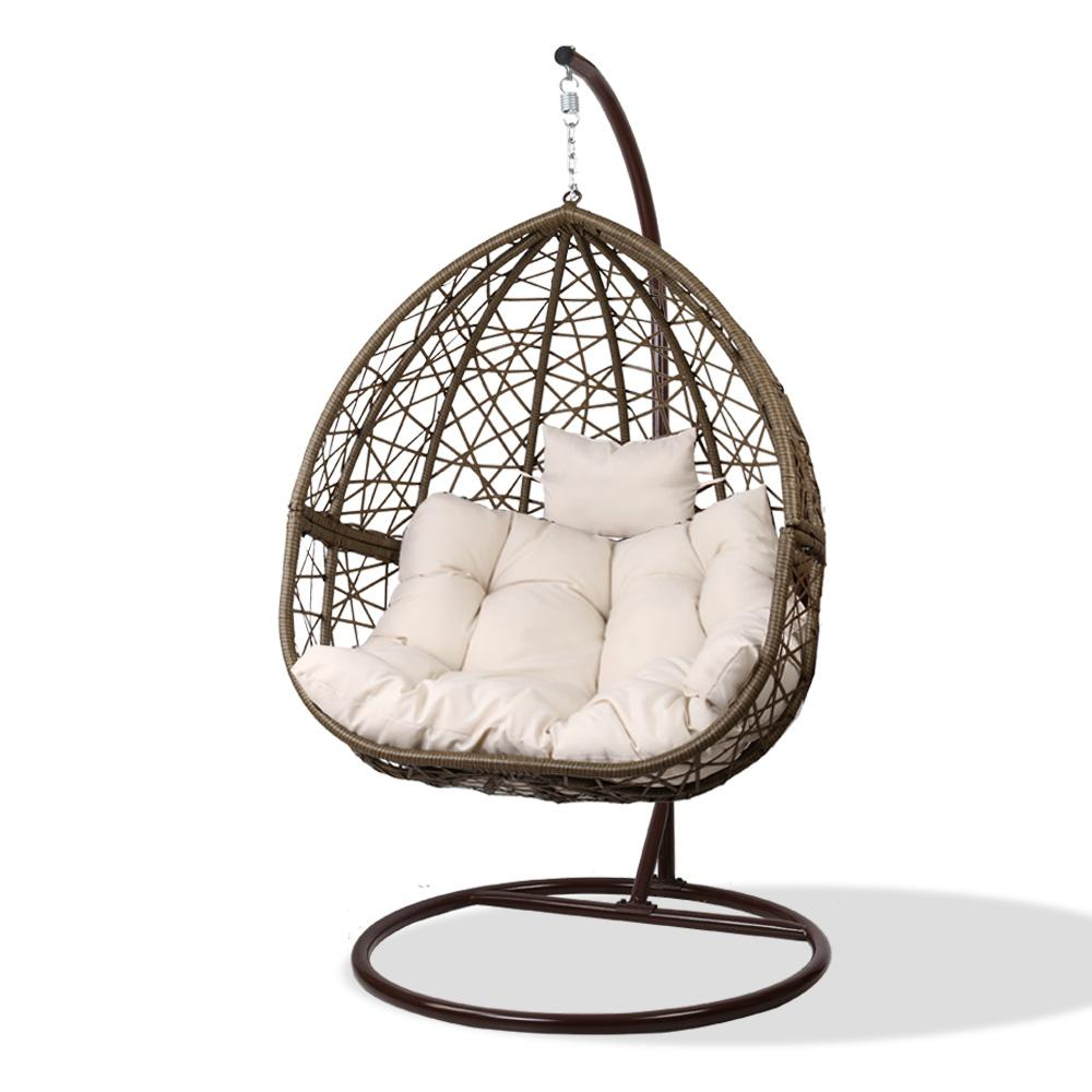 Gardeon Outdoor Hanging Swing Chair - Brown - Evopia