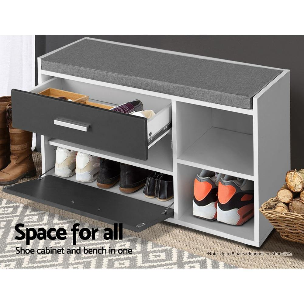 Artiss Shoe Cabinet Bench Shoes Storage Organiser Rack Wooden Cupboard Fabric Seat Adjustable Shelf - Evopia