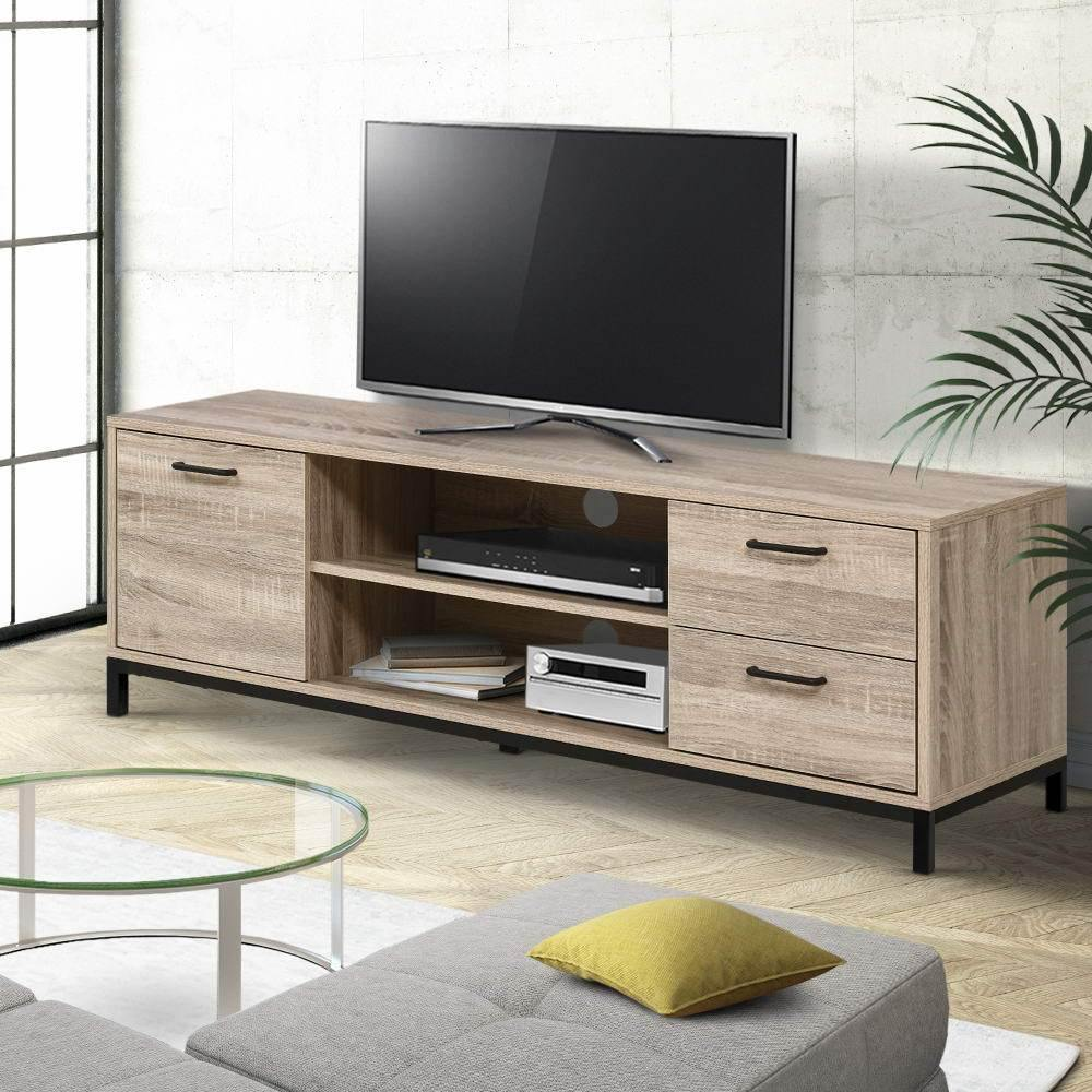 Artiss TV Cabinet Entertainment Unit Stand Industrial Wooden Metal Frame 132cm Oak - Evopia