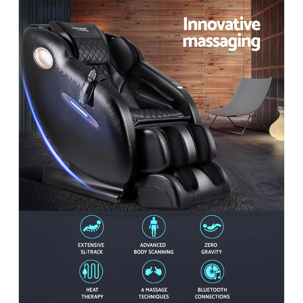 Livemor Electric Massage Chair SL Track Full Body Air Bags Shiatsu Massaging Massager - Evopia