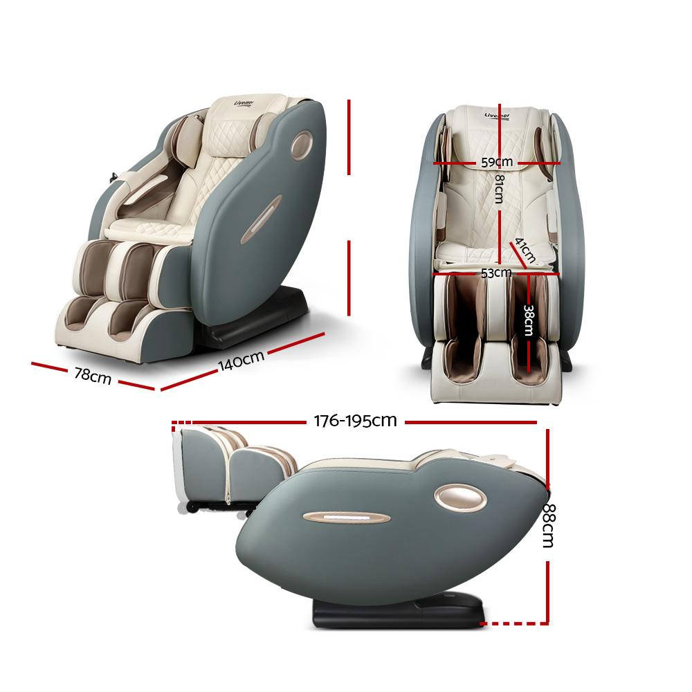 Livemor Electric Massage Chair Recliner SL Track Shiatsu Heat Back Massager - Evopia
