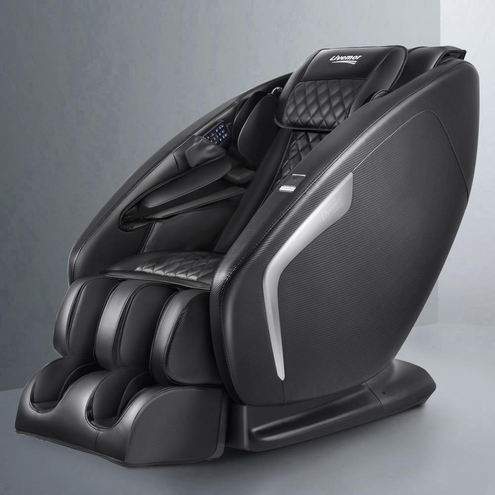 Livemor 3D Electric Massage Chair Shiatsu SL Track Full Body 58 Air Bags Black - Evopia