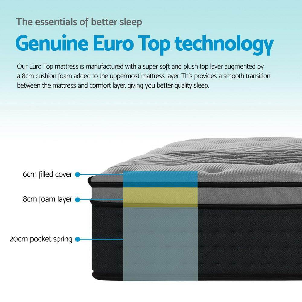 Giselle Bamboo Euro Mattress 34 cm Single - Evopia