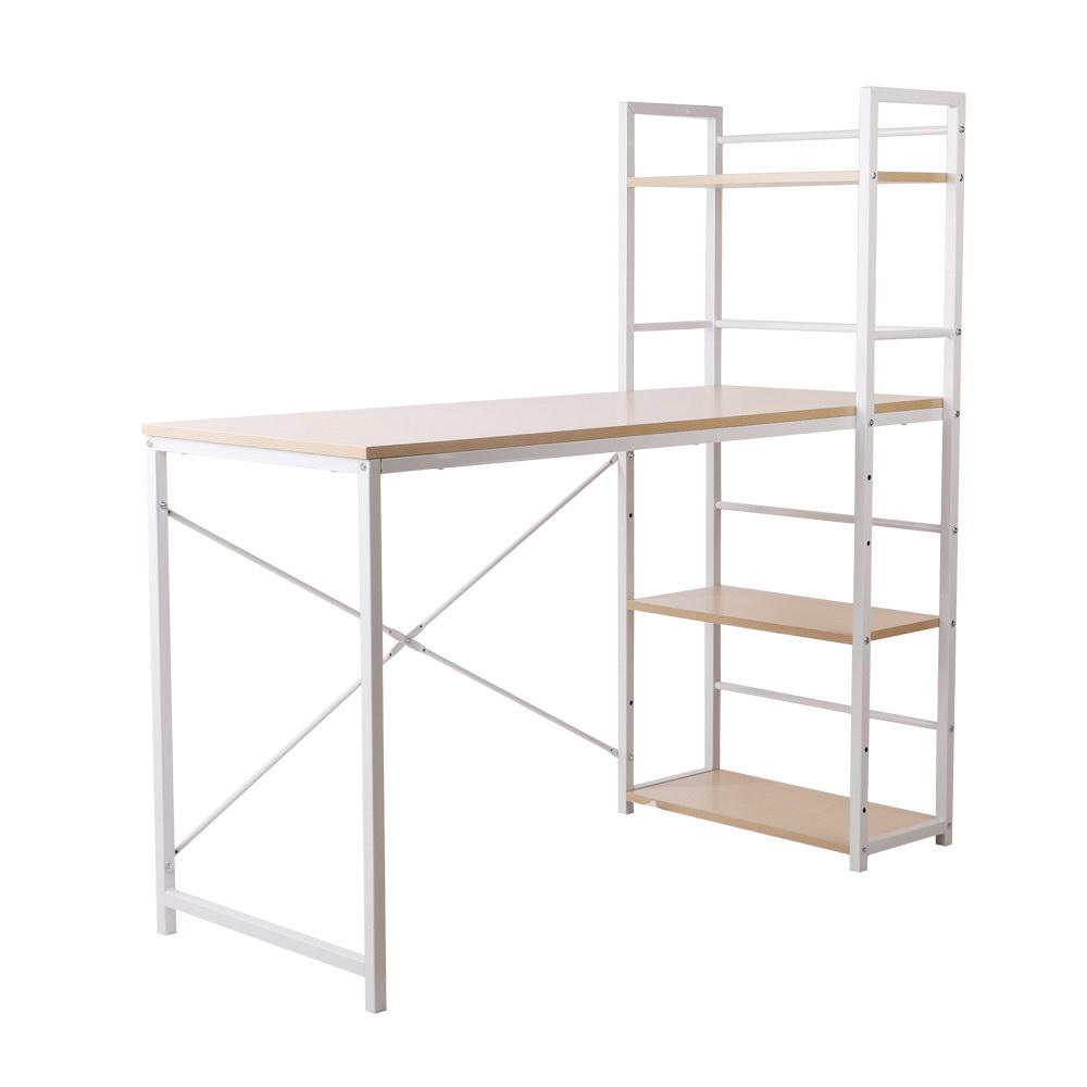 Artiss Metal Desk with Shelves - White with Oak Top - Evopia