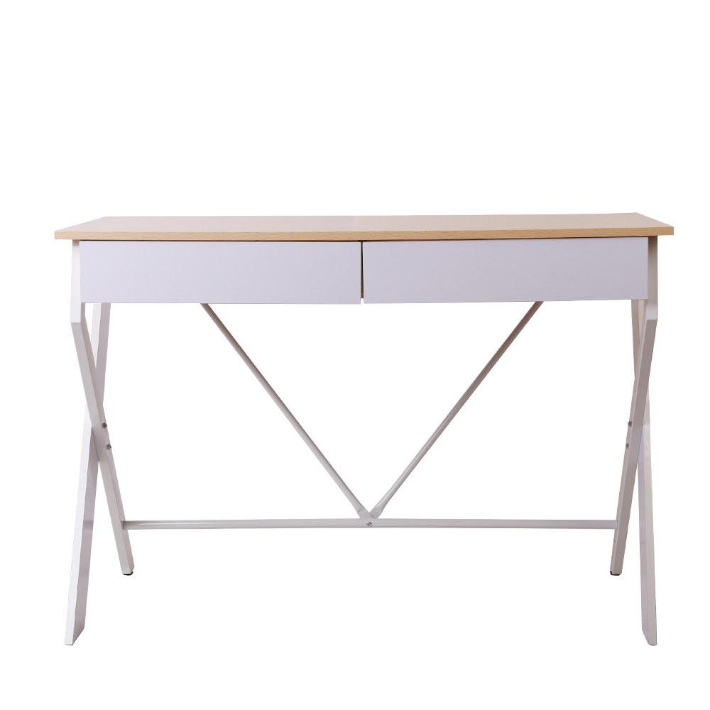 Artiss Metal Desk with Drawer - White with Oak Top - Evopia