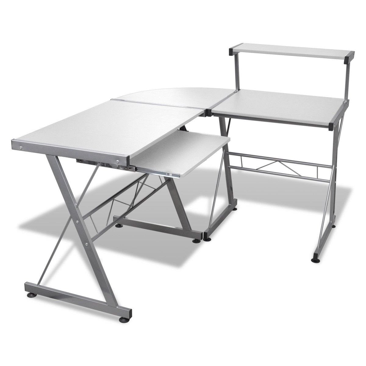 Artiss Corner Metal Pull Out Table Desk - White - Evopia