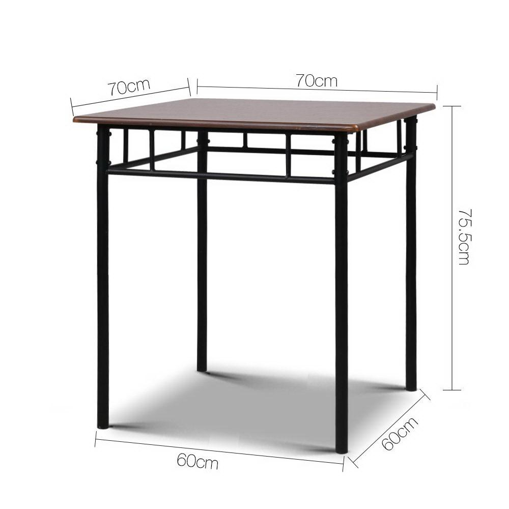 Artiss Metal Table and Chairs - Walnut & Black - Evopia