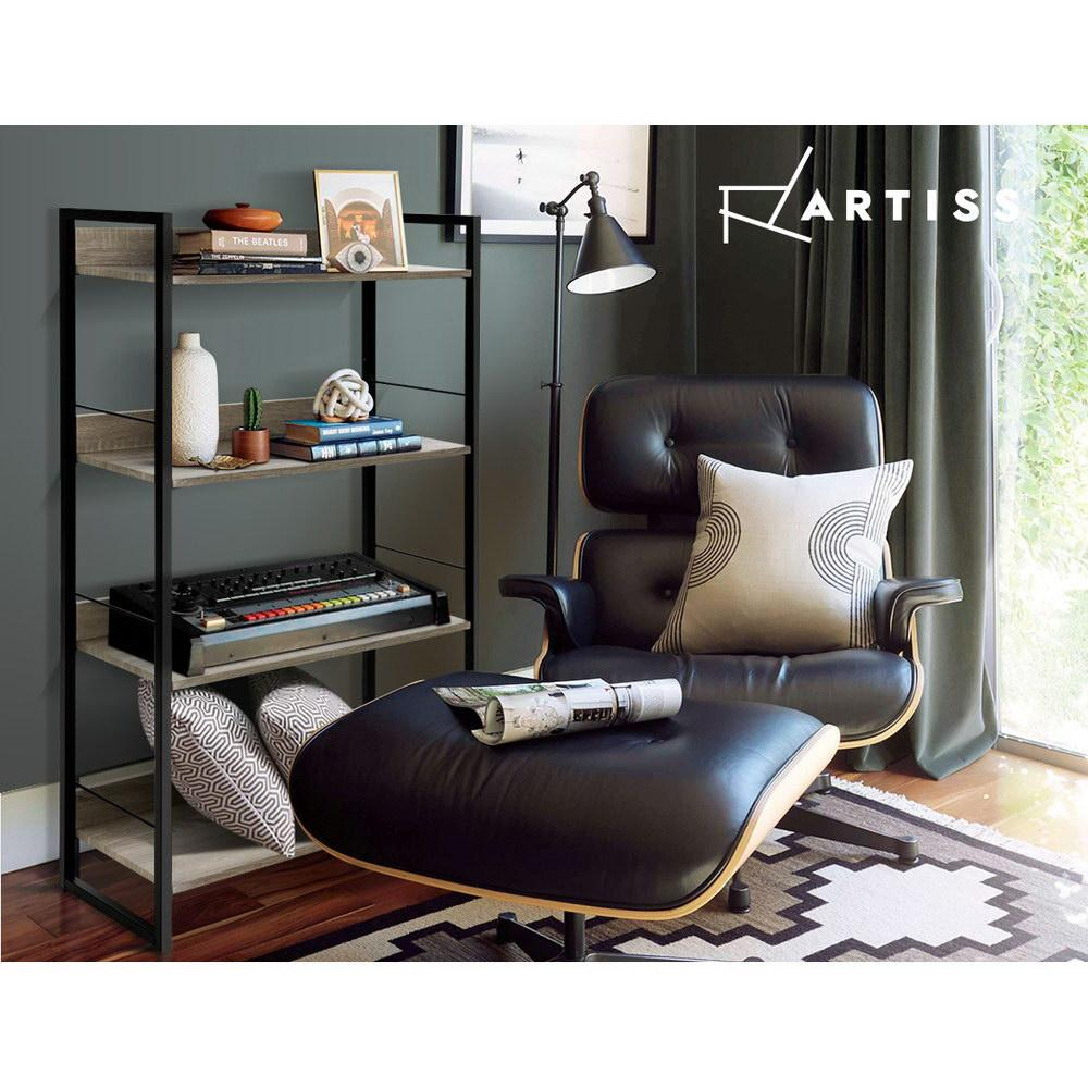 Artiss Book Shelf Display Shelves Corner Wall Wood Metal Stand Hollow Storage - Evopia