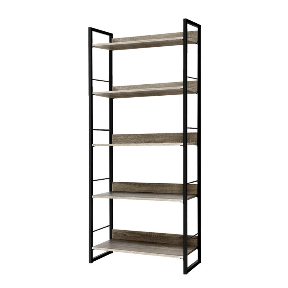 Artiss Bookshelf Wooden Display Shelves Bookcase Shelf Storage Metal Wall Black - Evopia