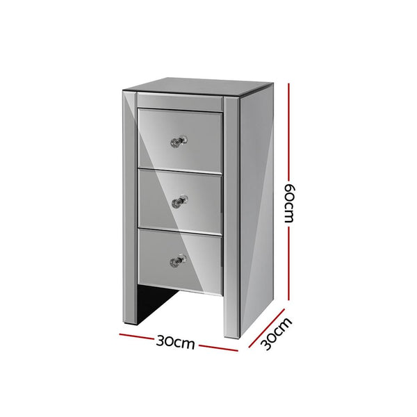 Artiss Mirrored Bedside Tables Drawers Crystal Chest Nightstand Glass Grey - Evopia