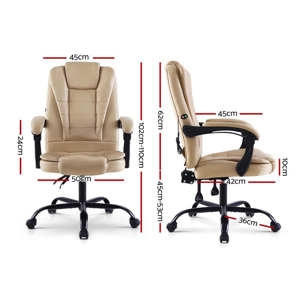 Artiss Massage Office Chair Gaming Chair Recliner Computer Chairs Khaki - Evopia