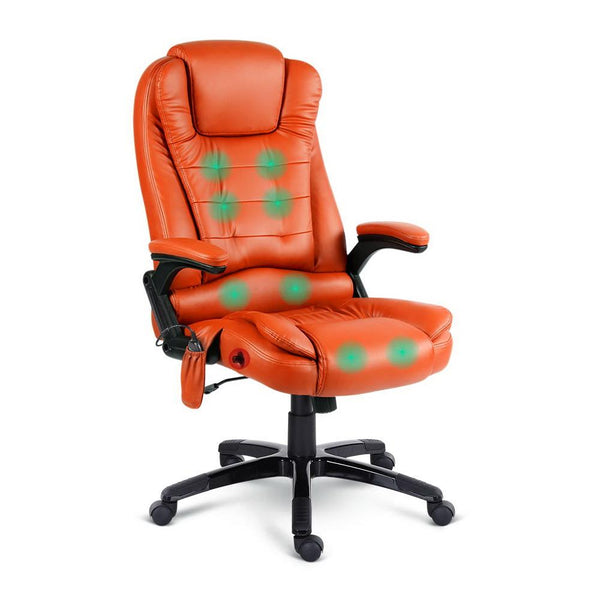 8 Point PU Leather Reclining Massage Chair - Amber - Evopia