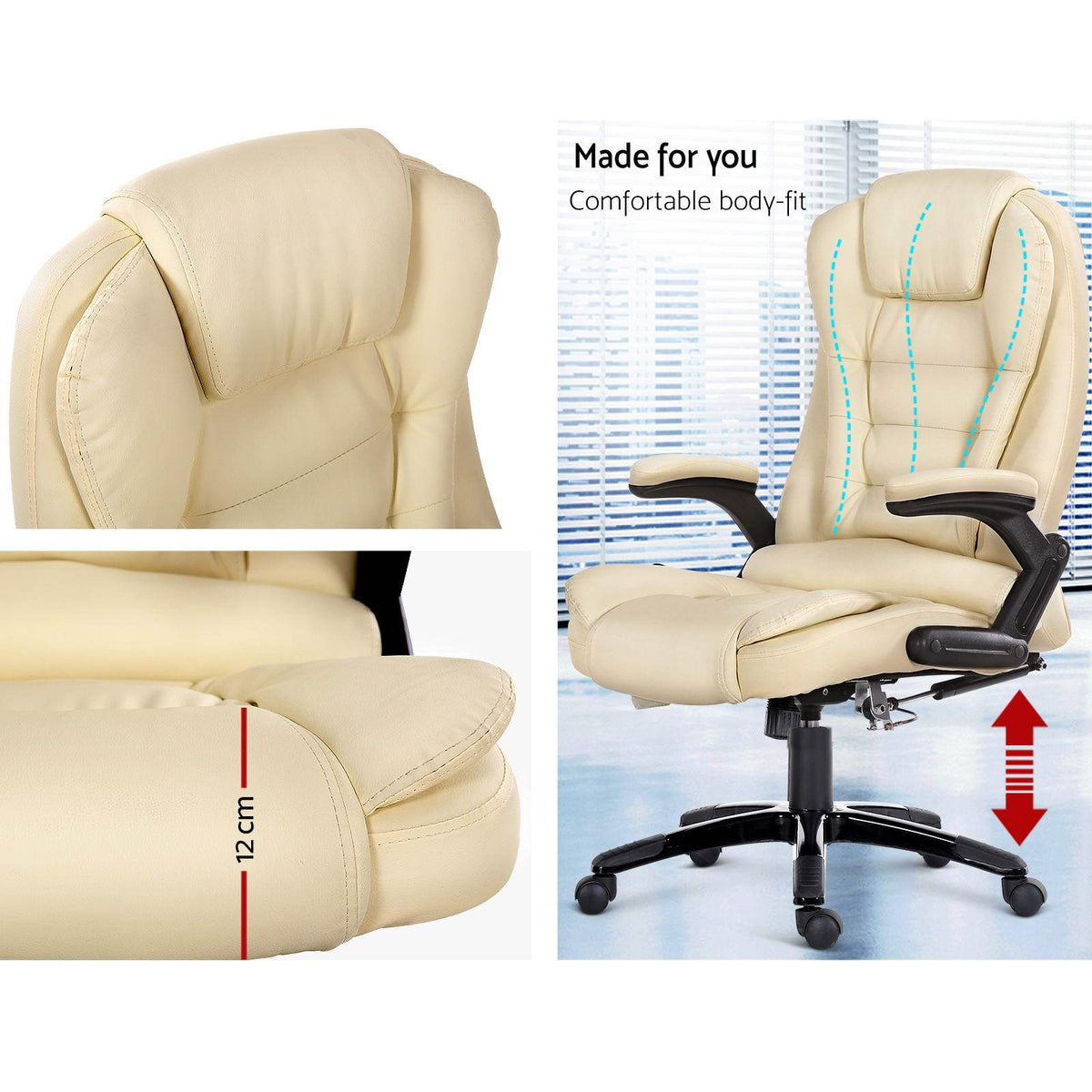 8 Point PU Leather Reclining Massage Chair - Beige - Evopia