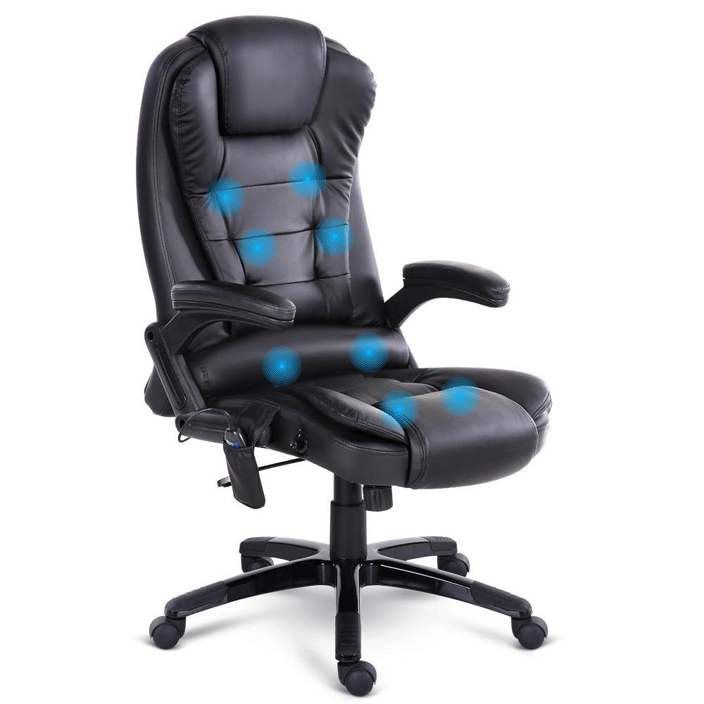 8 Point PU Leather Reclining Massage Chair - Black - Evopia