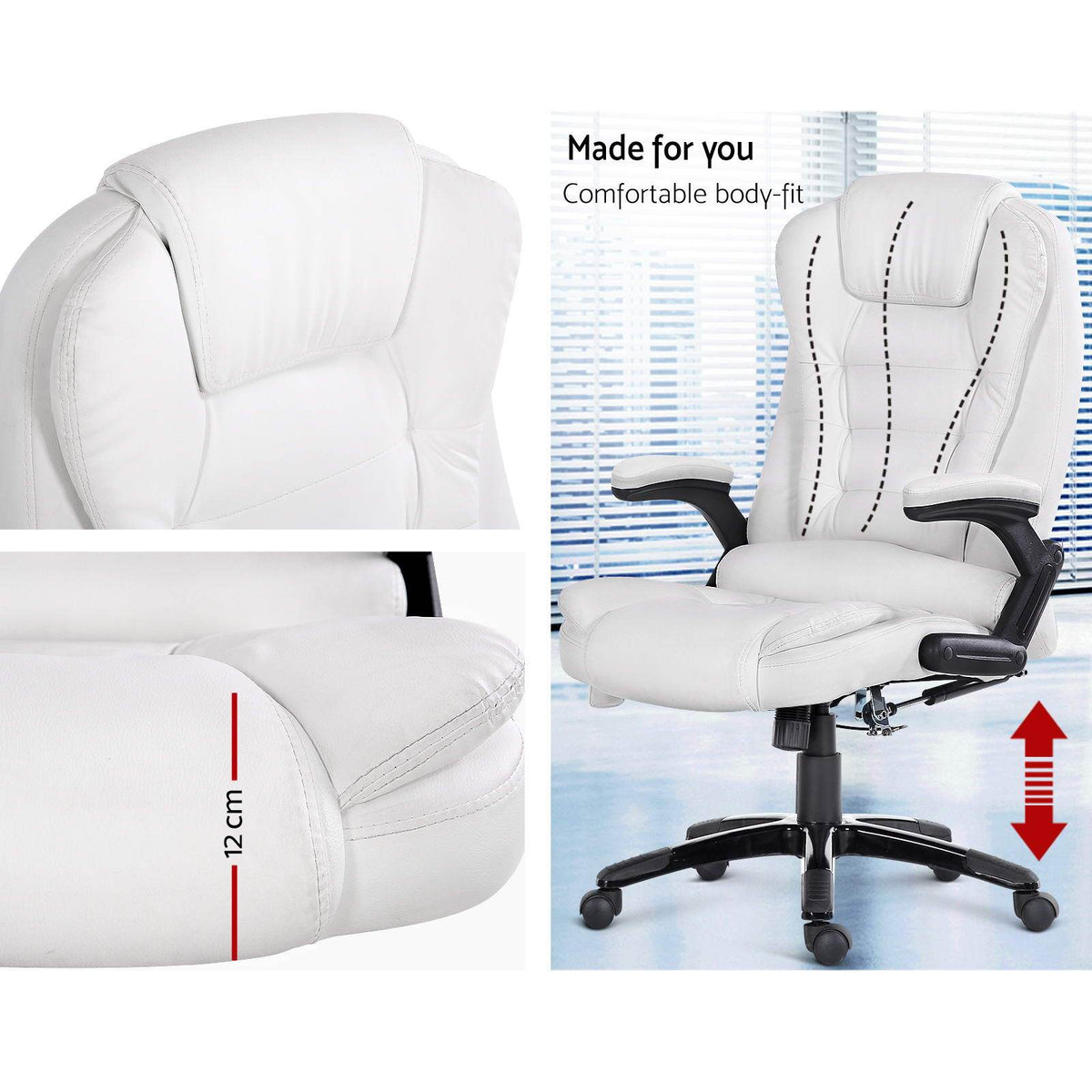 8 Point PU Leather Reclining Massage Chair - White - Evopia