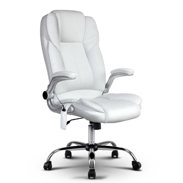 PU Leather 8 Point Massage Office Chair - White - Evopia