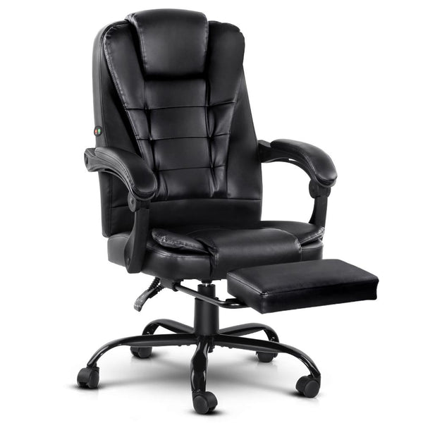 Artiss Electric Massage Office Chairs Recliner Computer Gaming Seat Footrest Black - Evopia