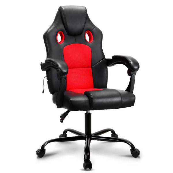 Artiss Massage Office Chair Gaming Computer Seat Recliner Racer Red - Evopia