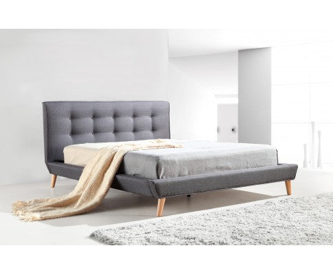 Deluxe Grey Linen Fabric Bed Frame - Evopia