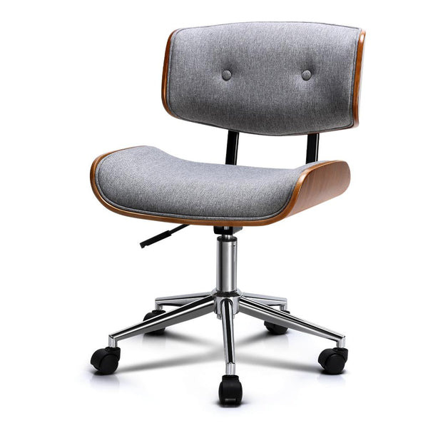 Artiss Executive Wooden Office Chair Fabric Computer Chairs Bentwood Seat Grey - Evopia