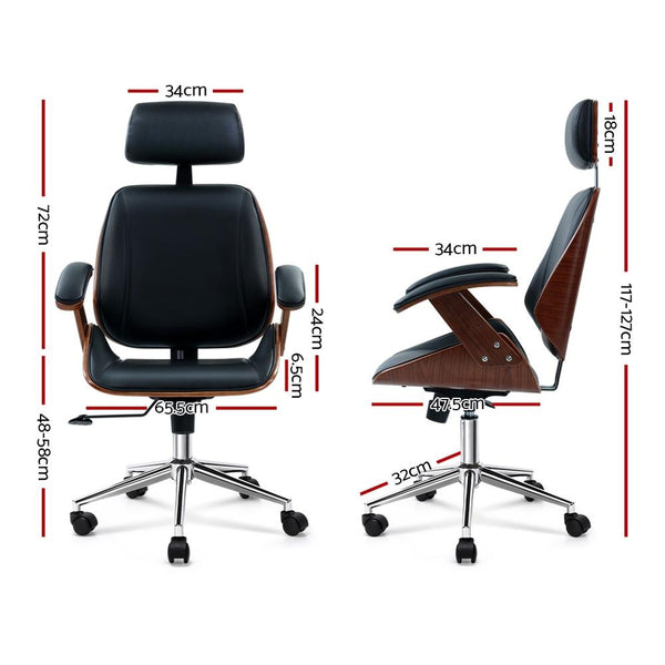 Artiss Wooden Office Chair Computer Gaming Chairs Executive Leather Black - Evopia