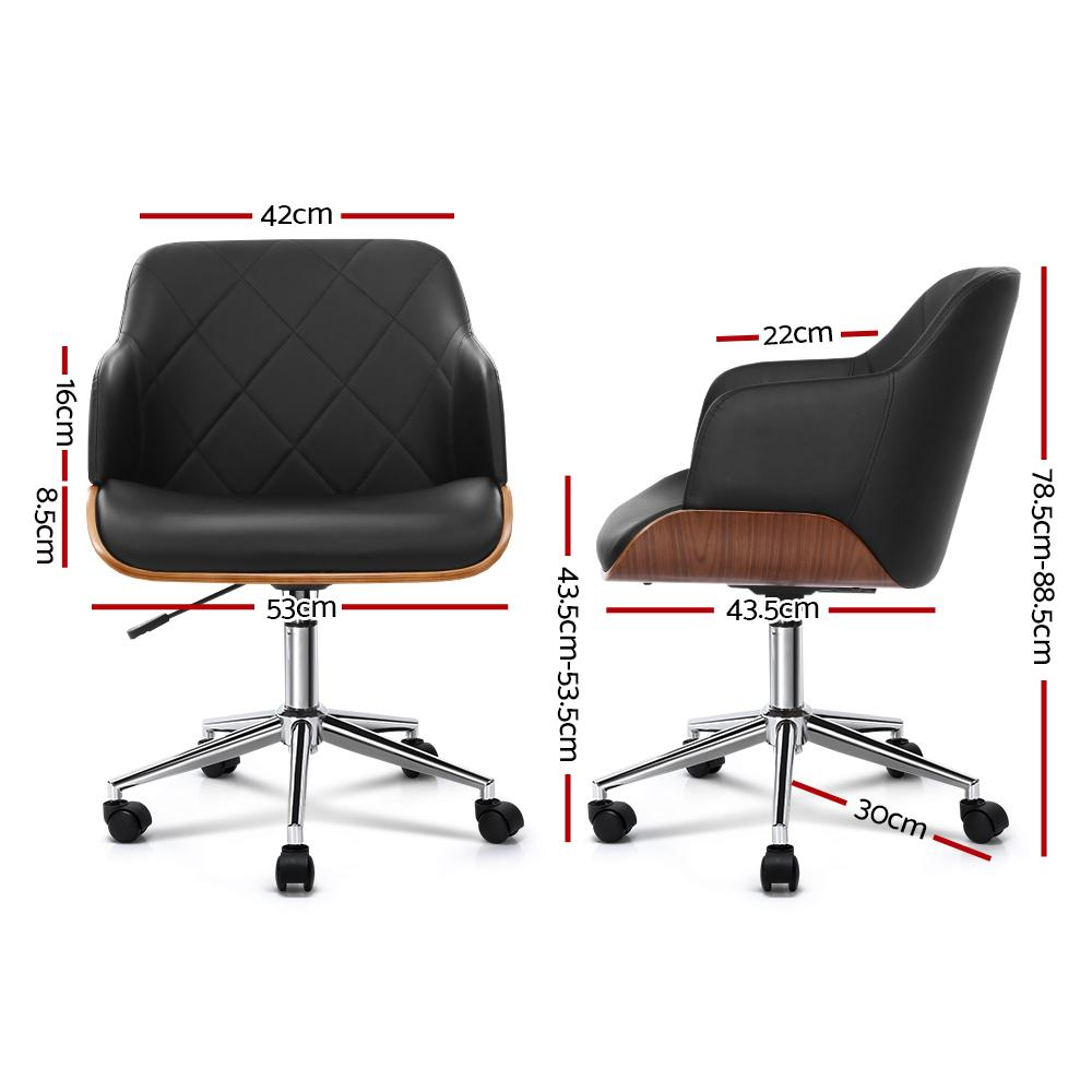 Artiss Wooden Office Chair Computer PU Leather Desk Chairs Executive Black Wood - Evopia