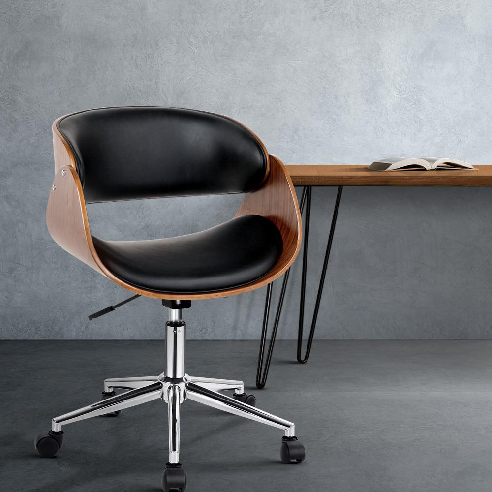 Artiss Wooden & PU Leather Office Desk Chair - Black - Evopia