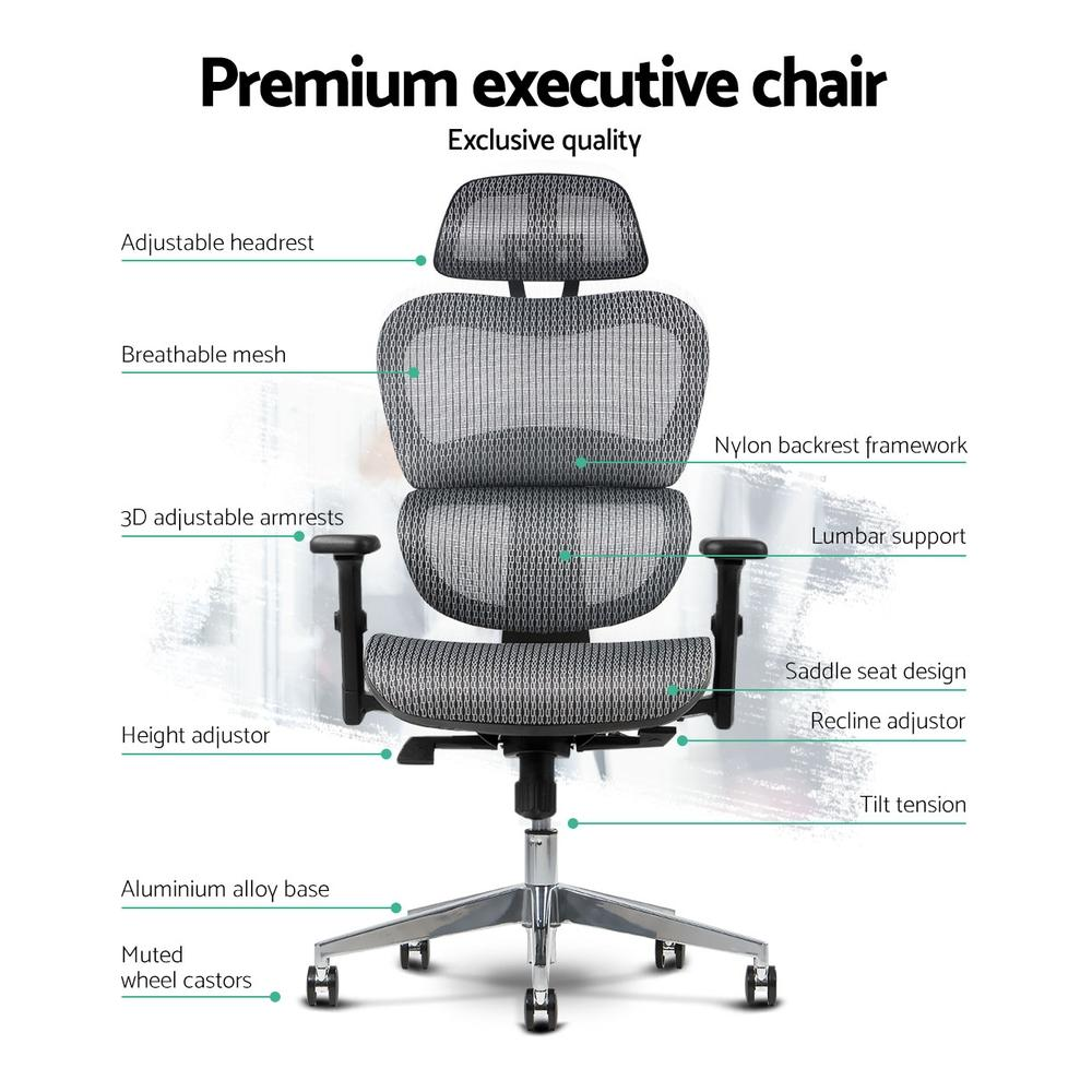 Artiss Ergonomic High Back Office Chair in Grey Mesh - Evopia