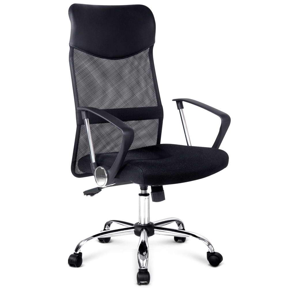 PU Leather Mesh High Back Office Chair - Black - Evopia