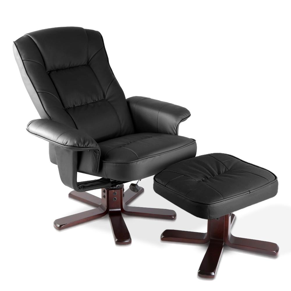 Artiss PU Leather Wood Armchair Recliner - Black - Evopia