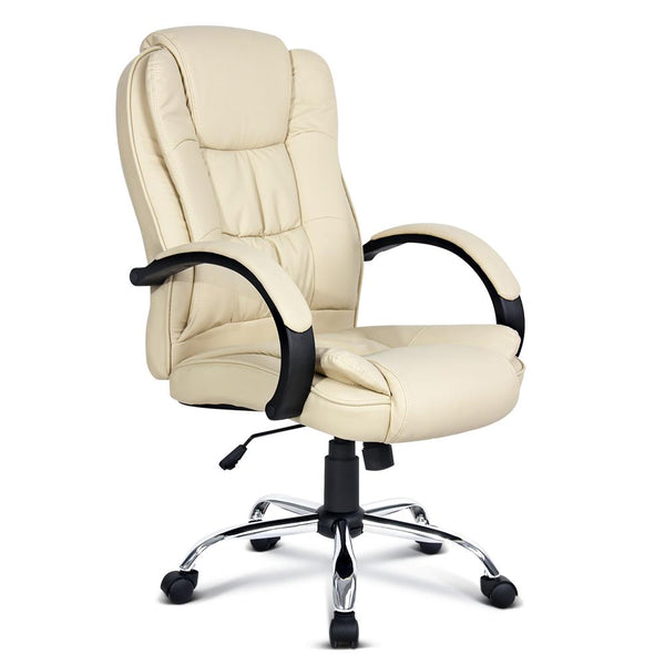 Executive PU Leather Office Desk Computer Chair - Beige - Evopia