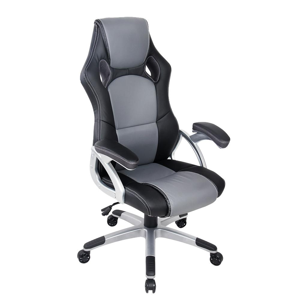 PU Leather Racing Style Office Desk Chair - Black & Grey - Evopia